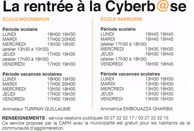 Horaires-Cyberbase
