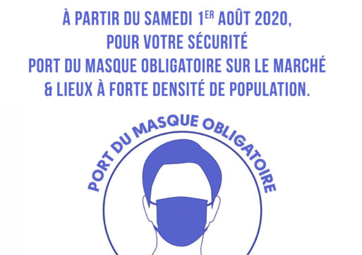 Port du masque obligatoire sur le marché.